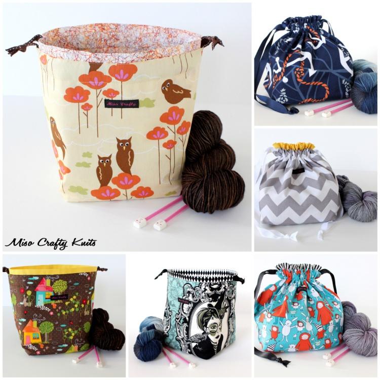 Miso Crafty Knits Drawstring Bags